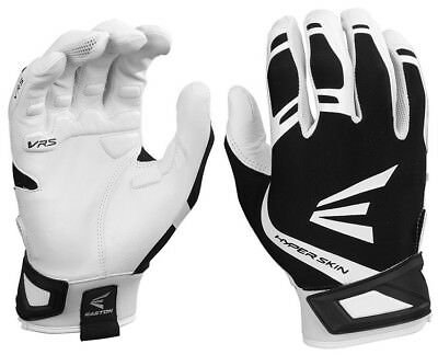 1pr Easton ZF7 VRS Hyperskin Womens Large White / Black Fastpitch Batting Gloves