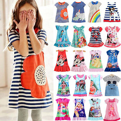 Toddler Kids Girls Cartoon Shift Dress Casual Summer Pajamas Sleepwear 0-13Y AU