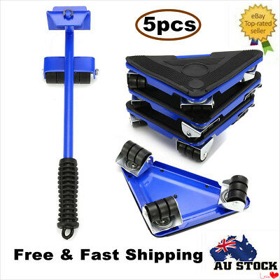 5PC Furniture Lifter Moves Wheels Mover Sliders Kit Home Moving Lifting System