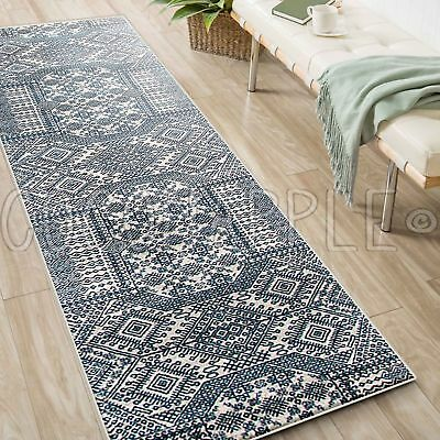 MINERVA AZTEC BLUE IVORY TRADITIONAL RUG RUNNER 80x500cm **FREE DELIVERY**