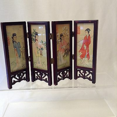 Asian Folding Screen Tabletop Vintage