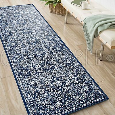 MINERVA FLORAL BLUE IVORY TRADITIONAL RUG RUNNER 80x500cm **FREE DELIVERY**