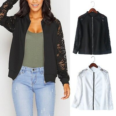 Women Long Sleeve Lace Blazer Suit Casual Jacket Coat Outwear Bomber Zipper Slim