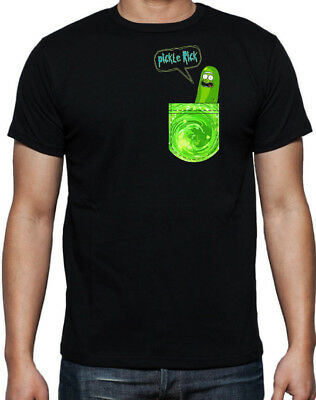 Rick And Morty Pocket Pickle Rick Cartoon Funny Sci-Fi New Mens Black T Shirt