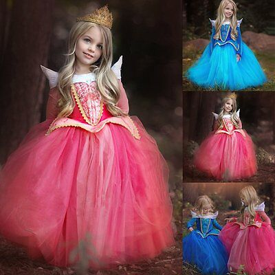 Halloween Girls Kids Fancy Dress Princess Aurora Sleeping Beauty Cosplay Costume