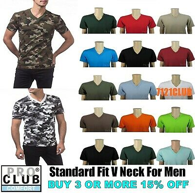 PRO CLUB V NECK T SHIRT ProClub Comfort Mens Big and Tall Short Sleeve tee S-7XL