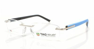 Tag Heuer Trends Rimless Optical Glasses Frame Silver Azur Blue Black 8108 009