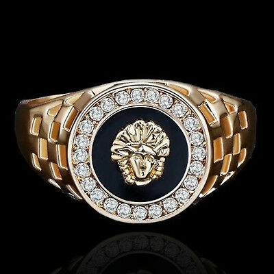 Men's Gold Plated Medusa Onyx Signet Ring Size 8,9,10,11,12 Wedding Ring Jewelry