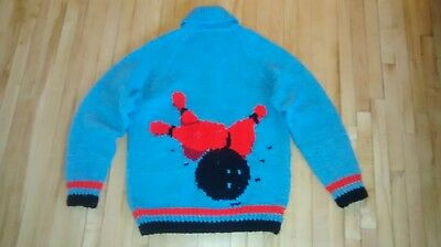 Vintage Bowling Pin Sweater Cowichan Zipper Cardigan Mary Maxim Knit Med 1950's