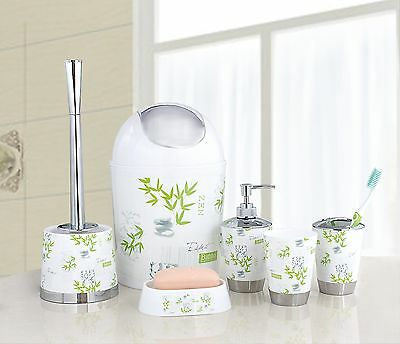 6 Pcs Bathroom Accessory Set Toothbrush Holder Bin Soap Dish Dispenser Tumbler