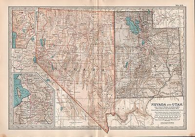 1903 Britannica Antique Map Usa Nevada And Utah Salt Lake City