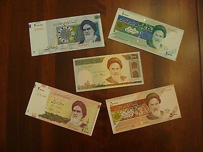 Lot of 5 Iran banknotes-1000,2000,5000,10000,20000 Rials-paper money currency
