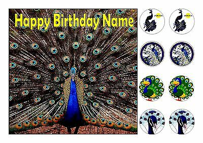 """Peacock Birds Square Edible Iced Icing Frosting 7.5""""+8 Cupcake Toppers"""