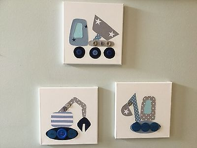 SET OF 3 HANDMADE GREY BLUE NURSERY DIGGERS CANVASES baby boy vintage modern