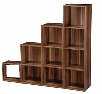 Walnut Effect Wooden Bookcase Storage Shelf Bedroom Living Room Display Unit