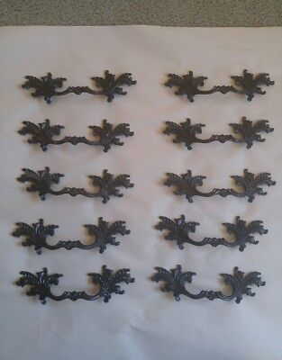 10 Vintage Brass French Provincial Dresser Drawer Handles / Pulls Black