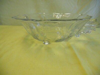 Fostoria Chintz Etched Glass Baroque Handled Four Toed Bowl