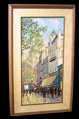 """50s French Impressionist Oil Painting """"Paris on Foot"""" by Maurice Brisson (Cha)"""