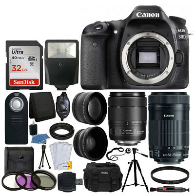 Canon EOS 80D DSLR Camera 18-135mm IS & EF-S 55-250mm IS STM Lens Great Value