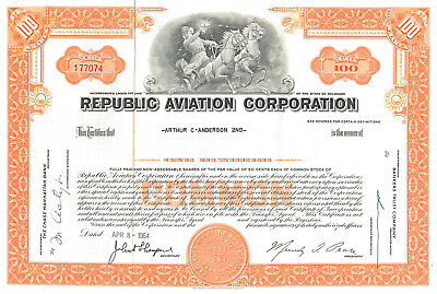 Republic Aviation Corporation > Seversky Aircraft Corporation stock certificate