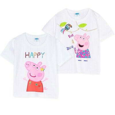 Original Peppa Pig and Friends Girls Short Sleeve 100% Cotton Tops T-Shirts 2-6y