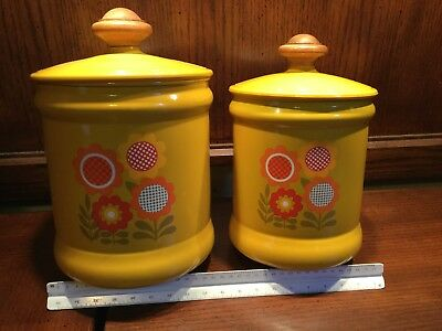 Vintage Mid Century West Bend Canister Set 1970's Flower power gold wood metal
