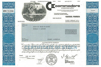 Commodore International > early home computer Commodore 64 stock certificate