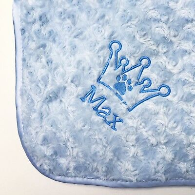 Personalised Embroidered Luxury Dog Blanket Soft Fluffy King Queen Puppy Bed