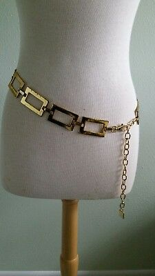 "Vintage 60's Chain Belt Mod Heavy Gold Tone 41"" Long Rectangle Link Authentic"