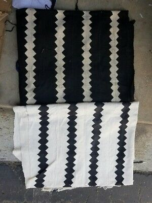 Authentic White/Black Mudcloth Fabric African Mali Mud Cloth