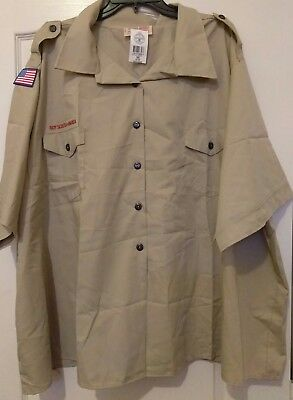 Cub Boy Scout Uniform Blouse Khaki Short Sleeve Womens 54 56 - patches New BSA
