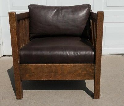 Original Vintage Stickley Oak and Leather Slat Style Cube Chair Arts  & Crafts