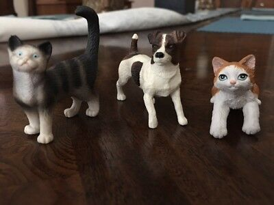Breyer Jack Russell Terrier #1505 Schleich Tabby cat and Brown and white kitty