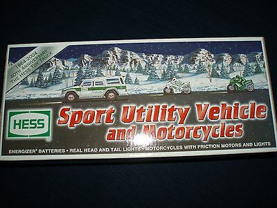 NIB HESS GAS STATION TRUCK 2004 SPORT UTILITY VEHICLE and MOTORCYCLES   MIB