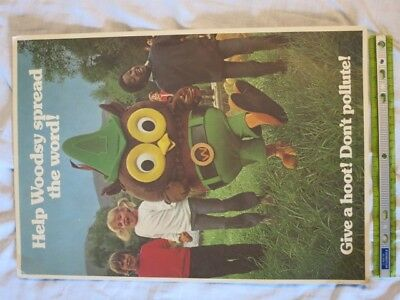 Woodsy Owl Poster, Tag Board, Approx. 13X17in, 1970s?