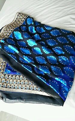 Indian saree in blue/ black,  with stone work, party, wedding reception wear