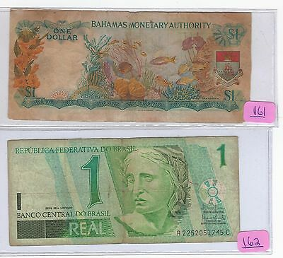 Two piece foreign currency lot Bahamas (1 dollar) / Brasil /Brazil 1 Real)