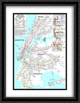 Framed New York Subway Map.New York City Subway Map 2x Matted 28x30 Framed Art Print 199 99