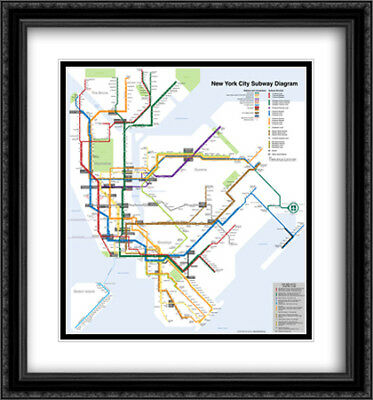 Framed New York Subway Map.New York City Subway Map 2x Matted 28x30 Framed Art Print