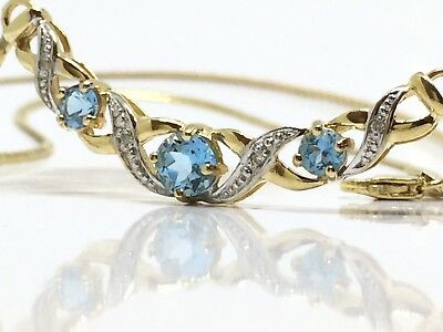 BEAUTIFUL Solid 9K 375 Yellow Gold Blue Topaz & Diamond Necklace Necklet