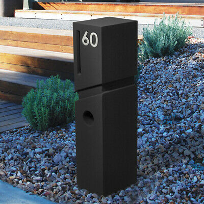 NEW MILKCAN DESIGN SPA Concrete BLACK Pillar Letterbox PIER MAILBOX EASY INSTALL