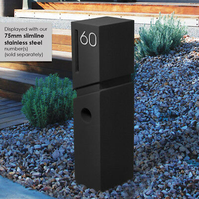 NEW MILKCAN DESIGN SPA Concrete BLACK Pillar Letterbox MAIL BOX Easy DIY Install