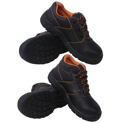 Mens Safety Shoes Work Boots Black Leather Non-slip Low/High Ankle Size 41-46✓