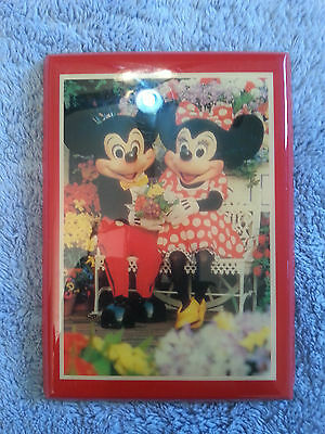 Vtg Mickey & Minnie Picture set on lacqued Varnished Wood Plaque