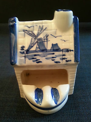 Vtg Blue & White Delft Handpainted House Ashtray