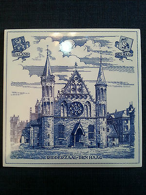 "Delft Ceramic 6"" Tile House Ridderzaal Den Haag Holland"