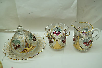 L G Wright Glass Fenton Wreathed Cherry 3 Pc Lot Butter Dish Creamer Sugar Ruby