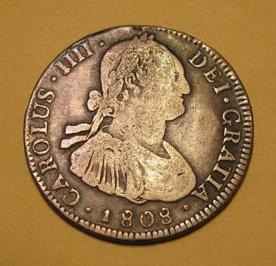 1808 Bolivia 4 Reales 4R PTS PJ Silver Coin, Charles IIII Spanish Colonial KM#72