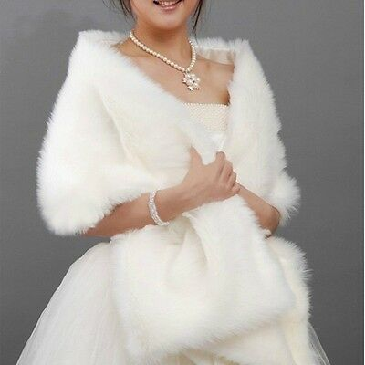 WHITE BLACK BRIDAL lONG SOFT FAUX FUR WRAP SHRUG STOLE SHAWL HOT SALE