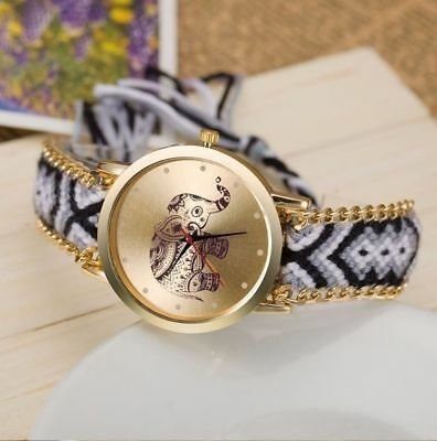 L227 New Brand Handmade Braided Elephant Friendship Bracelet Watch GENEVA Watch